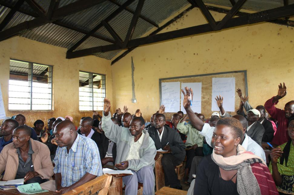 Participants in a landscape governance training session. Photo by Raffaela Kozar, EcoAgriculture Partners.