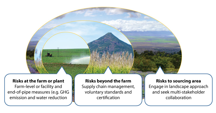 Scales of risk to businesses. Graphic from Reducing Risk: Landscape Approaches to Sustainable Sourcing.