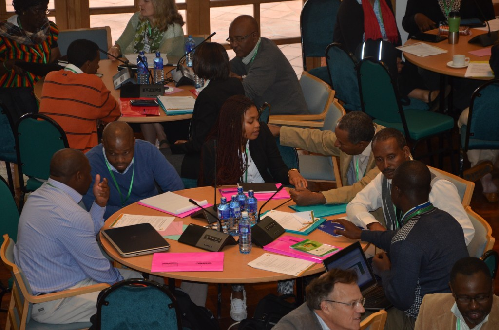 Participants in the Landscapes for People, Food and Nature in Africa Conference gather to create action plans. Photo by World Agroforestry Centre.