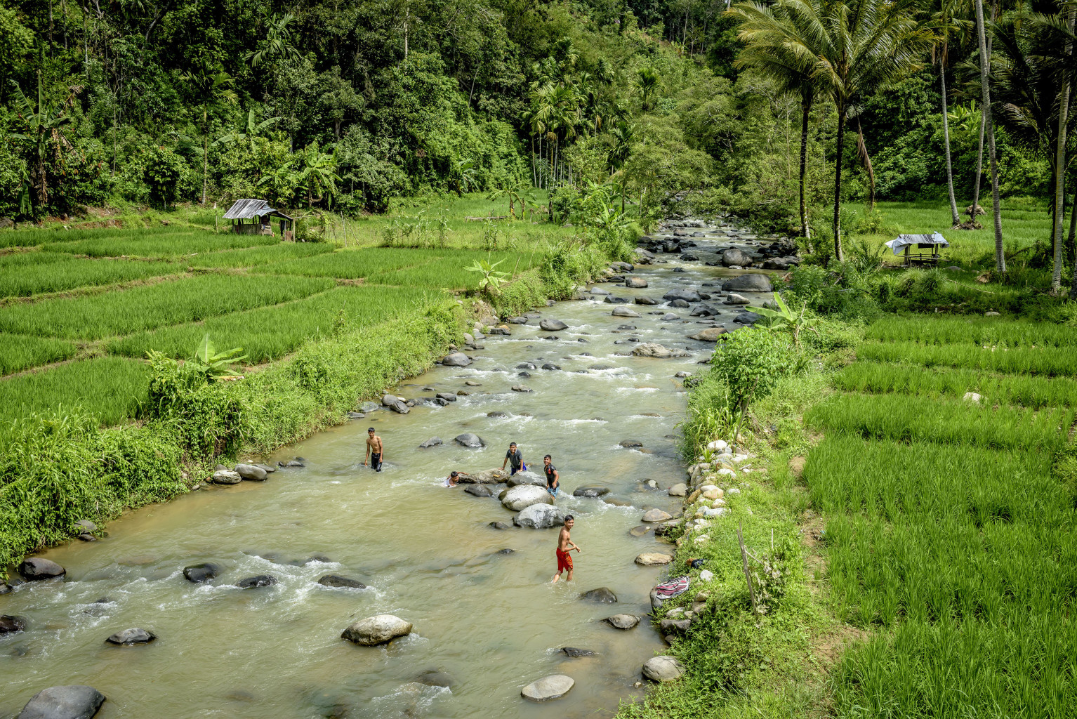 Aek Mais River flows down from the Batang Gadis watershed in Mandailing Natal, North Sumatra.